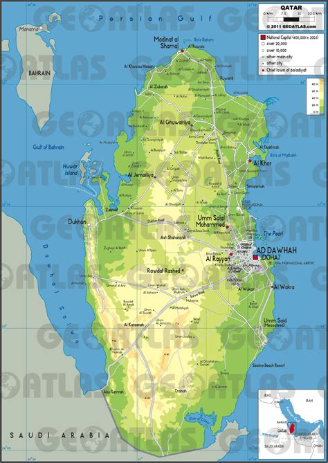 physical map of qatar geoatlas countries qatar map city illustrator fully