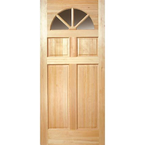 Masonite 36 In X 80 In Fan Lite Unfinished Fir Front Slab Exterior Door