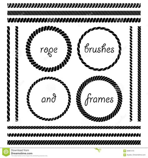 rope pattern brush and ready made rope elements set of rope brushes and frames stock vector illustration