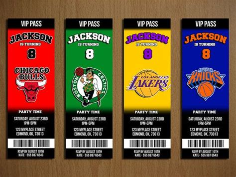 nba printable birthday invitations nba basketball ticket birthday party invitation by