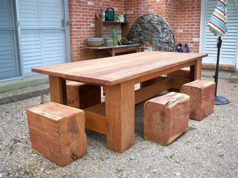 Picnic Table With Cedar Log Stools Contemporary Patio Cedar Patio Table