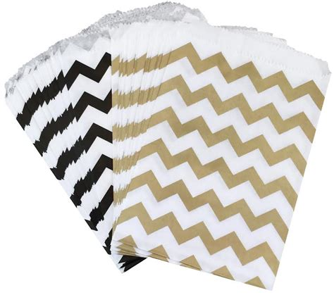 Gold Chevron Flat Favor Bag Paper Bag gold and black chevron paper bags favor sacks pack of 48 ss 0008 outside the box papers