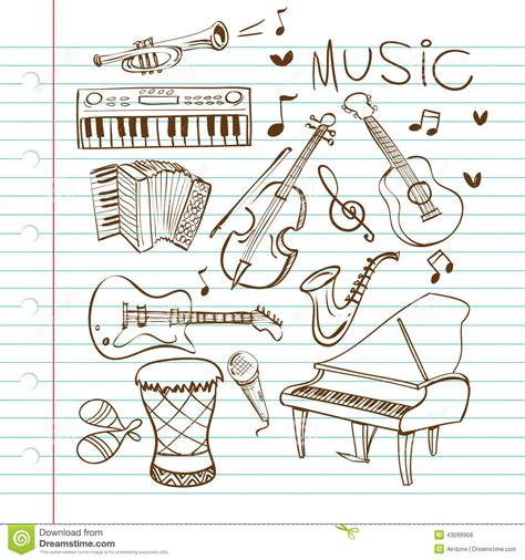musical doodle free vector instruments doodle stock vector image of accordian