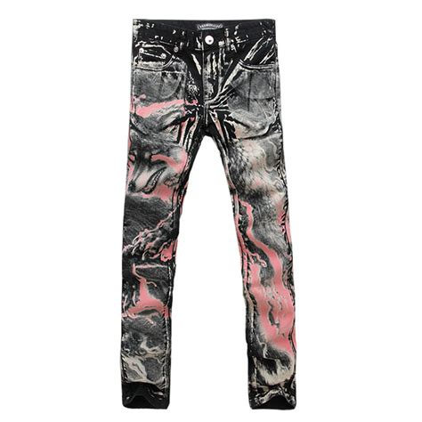 Cool Pattern Jeans | men s print jeans red wolf pattern cool denim pants