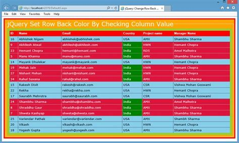 jquery set background color jquery set gridview row color on the base of any column value