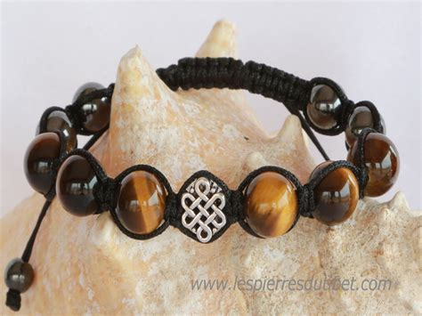 Bracelet Shamballa Tibétain pierre oeil de tigre
