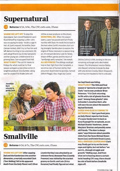 tv guide s supernatural page with tv listings supernatural tv guide magazine scan sept 20 26