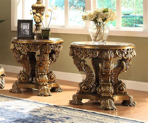 victorian style table ls homey design hd 8008 victorian palace round end table