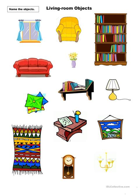 items in the living room living room objects worksheet free esl printable worksheets made by teachers