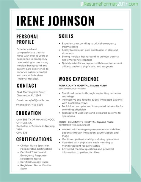 resume sle format 2017 nursing resume template 2017 learnhowtoloseweight net