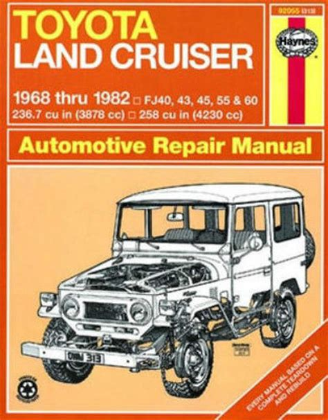 haynes 92055 repair manual land cruiser fj40 fj43 fj45