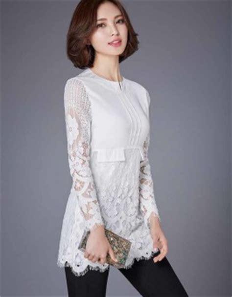 Diandra Blouse Bahan Wolfice Simple Murah Blouse Putih Kombinasi Brokat Simple 2016 Jual Model