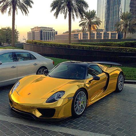 porsche gold porsche 918 spyder wears traditional supercar gold chrome