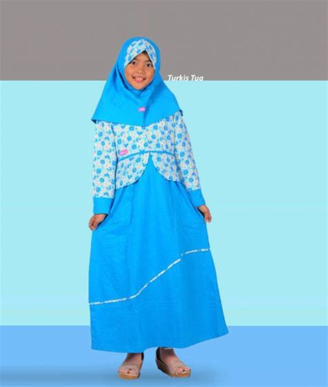Gamis Jilbab Anak Rahnem Gh 1339 Dress Anak baju sarimbit rahnem gm 1343 turkis annisa collection