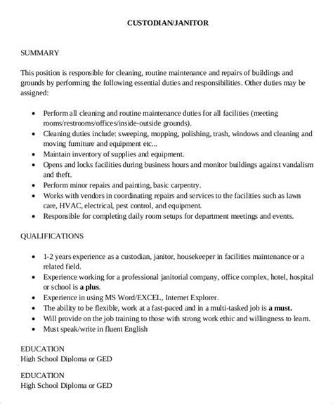Description Janitor by 9 Janitor Description Templates Pdf Doc Free Premium Templates