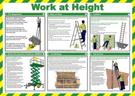printable coshh poster work at height safety poster laminated 59cm x 42cm