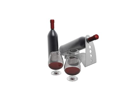 red wines and glasses acrylic wine rack 3d model 3dsmax