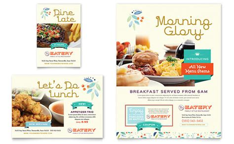 family restaurant flyer ad template design