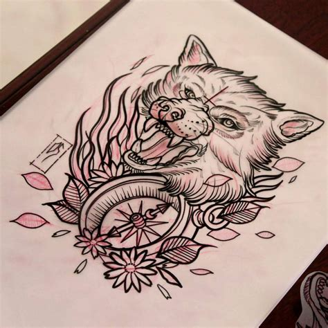 shine tattoo designs vicious wolf and compass in shine design