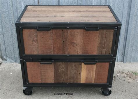 modern industrial file cabinet reclaimed vintage wood