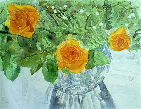 vase yellow roses by sandrine pelissier