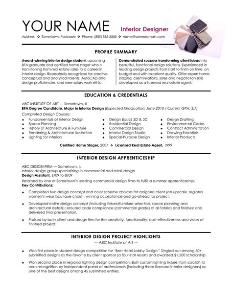 Interior Designer Resume Summary Sle Creative Resume Exle 28 Images Architect Resume Sle Sales Architect Lewesmr Freelance