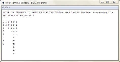 Pattern Programs In Bluej | vetical string java bluej