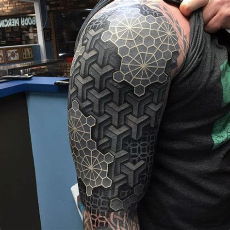 mens arms black and white 3d blocks tattoo tattoo