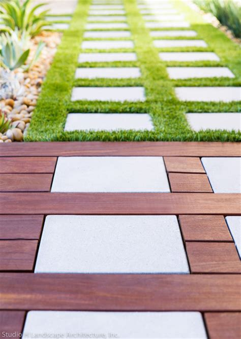 Wood Patio Pavers Ipe Wood Deck Stepstone Pavers Contemporary Landscape Orange County By Studio H