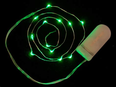 Wire Light Led Strand 12 Green Leds Coin Cell Holder Green Wire Lights