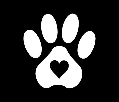 printable vinyl stickers pet paw print with heart dog cat vinyl decal car window