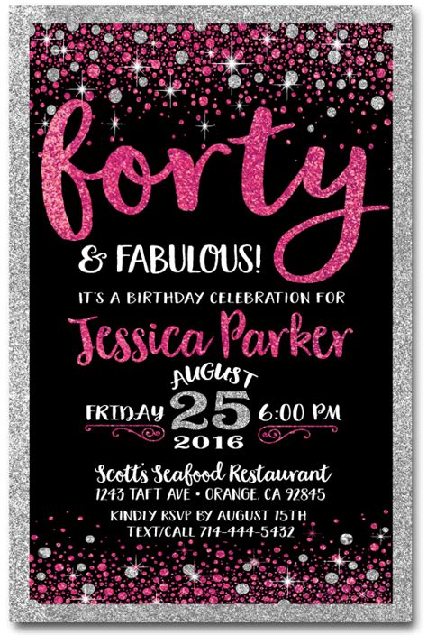 40th birthday invitation card pink black forty and fabulous 40th birthday invitations