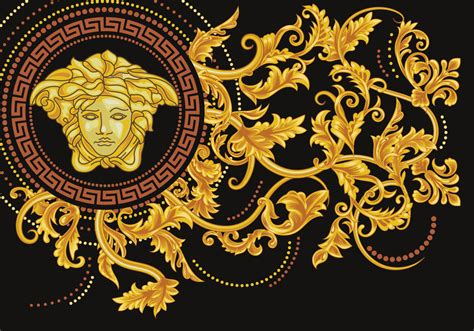 gold versace pattern asymmetrical versace medusa vector download free vector
