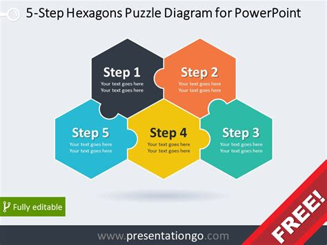 5 Step Hexagons Puzzle Diagram For Powerpoint Powerpoint Template Puzzle Pieces Free