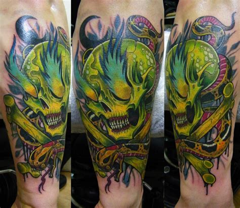skull tattoo with snake in very toxic colors skull tattoos