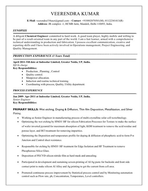 Chemistry Resume Sle India Chemical Resume