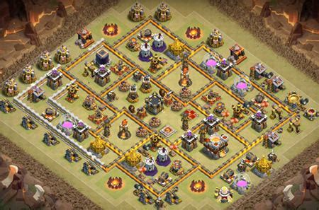 best coc th10 war base anti 3 star 2017 defense layout