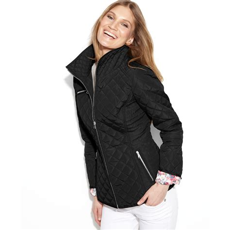 Quilted Jacket Black by Florallined Quilted Jacket In Black Lyst