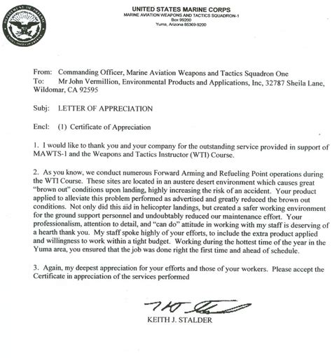 letter of appreciation exles usmc best photos of usmc letter of appreciation usmc letter