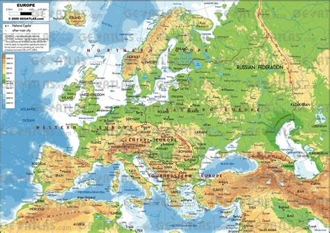 geography of europe map free physical maps of europe mapswire within map
