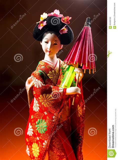 kimono doll design umbrella japanese female kimono doll wearing red paper umbrella