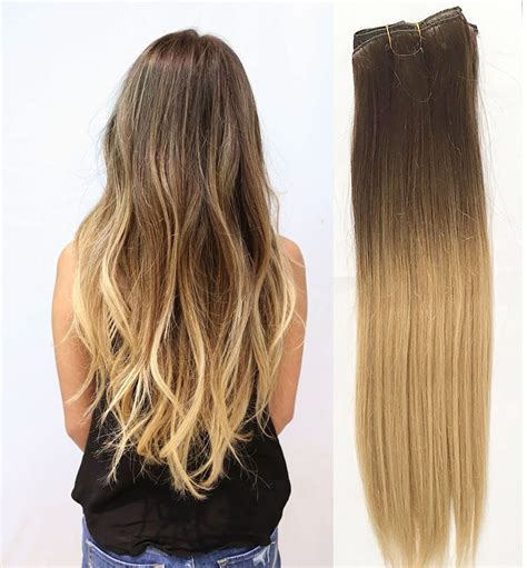 hair extension clips full head clip in human hair extensions remy ombre dip dye