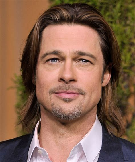 hairstyles for long hair round face man brad pitt long straight casual hairstyle medium brunette