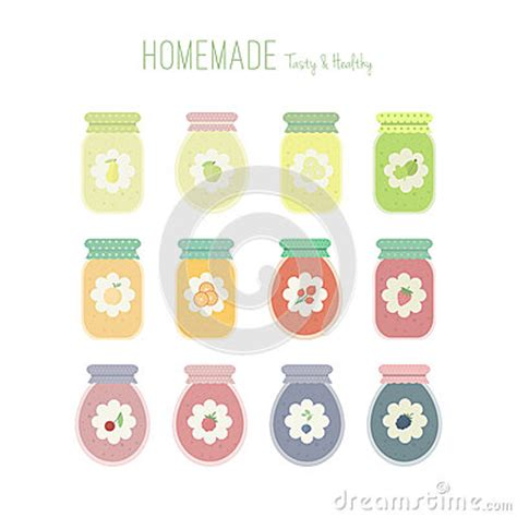 Set Of Colored Labels For Fruit Jam Stock Set Of Jam Jars With Labels Stock Vector Image 56306301