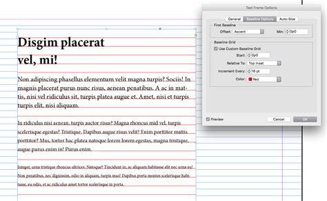 indesign tutorial baseline grid typography leading and aligning to a baseline grid in
