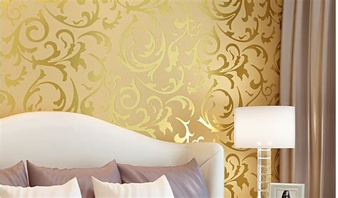 Base Gold Flower Wallpaper 45cm X 10m sliver netherland damask embossed wallpaper high quality in wallpapers from home