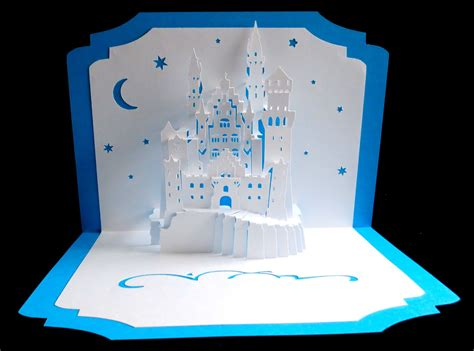 Origami Castle Easy - pop up card 3d kirigami princess neuschwanstein castle