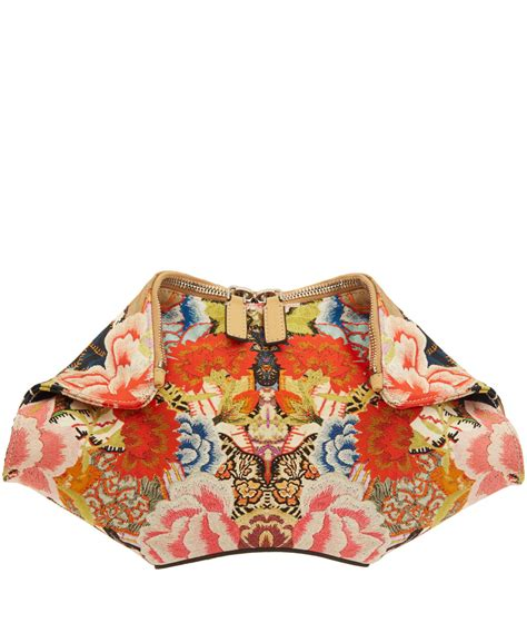 Patchwork Mini mcqueen mini patchwork floral de manta clutch bag in floral lyst