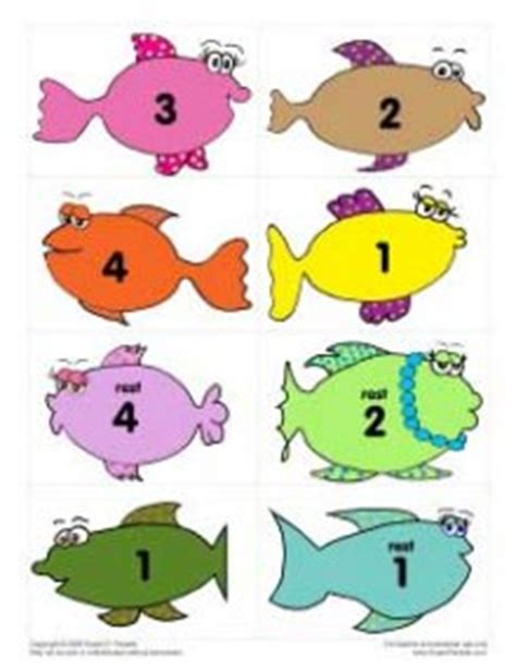 printable numbers on fish fishy rhythm and note flashcards denley music