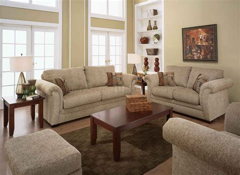 Casual Living Room Chairs Sand Fabric Casual Living Room Sofa Loveseat Set W Rolled Arms